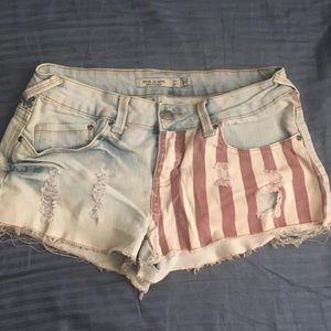 American Flag Jean Shorts Size Large